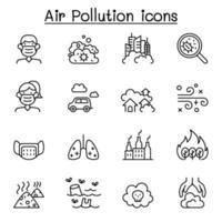 icona di inquinamento atmosferico e malattia da virus impostata in stile linea sottile vettore