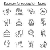 recessione economica, crisi aziendale, icona di guerra commerciale impostata in stile linea sottile vettore
