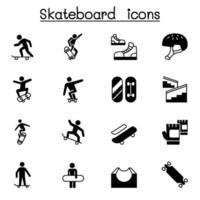 Skateboard icon set illustrazione vettoriale graphic design