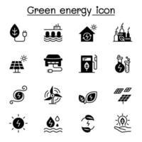 Icona di energia verde imposta illustrazione vettoriale graphic design