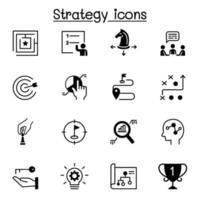 strategia e piallatura set di icone illustrazione vettoriale graphic design