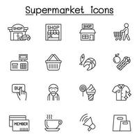 icona del supermercato impostato in stile linea sottile vettore