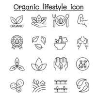 icona di stile di vita biologico impostato in stile linea sottile vettore