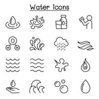 acqua, liquido, icona aqua impostata in stile linea sottile vettore