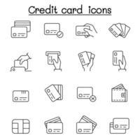carta di credito, carta di debito, pagamento, icone dello shopping impostate in stile linea sottile vettore