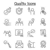 qualità, approvato, segno di spunta icone impostate in stile linea sottile vettore
