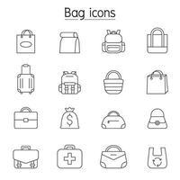icona della borsa impostata in stile linea sottile vettore