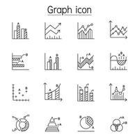 grafico, grafico, diagramma, dati, icona infografica impostata in stile linea sottile vettore