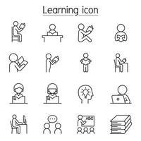 icona di apprendimento impostato in stile linea sottile vettore