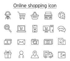 icona dello shopping online impostata in stile linea sottile vettore