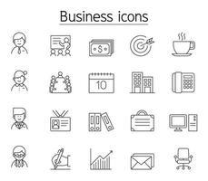 icona di gestione aziendale impostata in stile linea sottile vettore