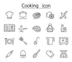 icona di cucina impostata in stile linea sottile vettore