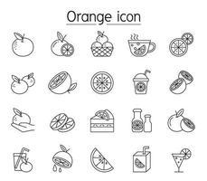 icona arancione impostata in stile linea sottile vettore