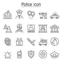 icona della polizia impostata in stile linea sottile vettore