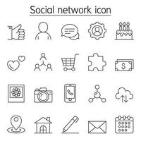 icona di rete sociale impostata in stile linea sottile vettore