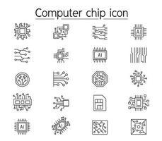 icona del chip di computer impostata in stile linea sottile vettore