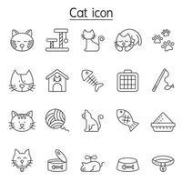 icone del gatto impostate in stile linea sottile vettore