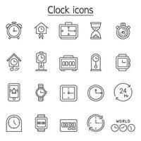 orologio, orologio, icona del cronometro impostata in stile linea sottile vettore