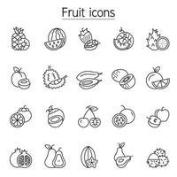 icona di frutta impostata in stile linea sottile vettore
