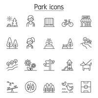 icona del parco impostato in stile linea sottile vettore