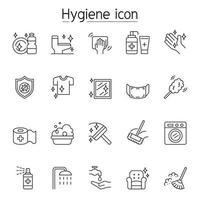 Icone di igiene e pulizia impostate in stile linea sottile vettore
