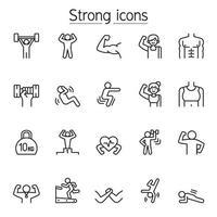 forte, in forma, icone di esercizio impostate in stile linea sottile vettore