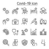 virus, covid-19, icone del virus corona impostate in stile linea sottile vettore