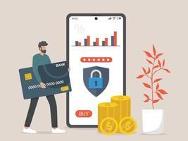 carta di credito e illustrazione di concetto di mobile banking vettore