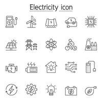 icone di elettricità impostate in stile linea sottile vettore