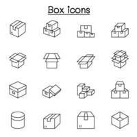 icone della scatola impostate in stile linea sottile vettore