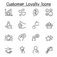 set di icone di linea di fedeltà del cliente. vettore