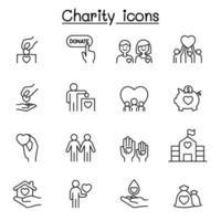 icone di beneficenza e donazione impostate in stile linea sottile vettore