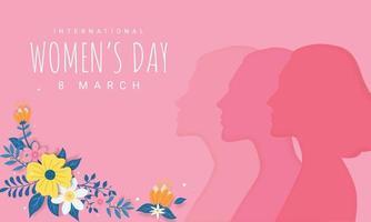illustrazione della cartolina d'auguri di giorno delle donne felici vettore