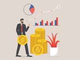 illustrazione del concetto di finanza, concetto di business per gli investimenti vettore