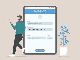 illustrazione di concetto di informazioni di pagamento online vettore