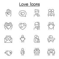 icone di amore impostate in stile linea sottile vettore