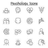 icone di psicologia impostate in stile linea sottile vettore