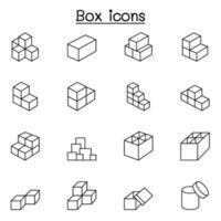 icone della scatola in stile linea sottile vettore