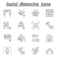 icona di allontanamento sociale impostato in stile sottile linea vettore