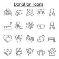 icone di donazione impostate in stile linea sottile vettore