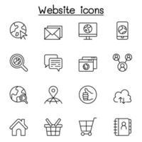 Internet, browser, icona del sito Web impostata in stile linea sottile vettore
