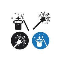 set logo bacchetta magica vettore