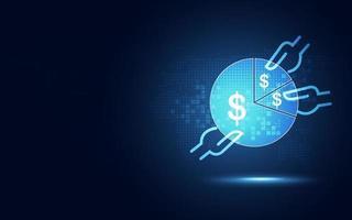 dispositivo digitale di pagamento in linea futuristico e fondo astratto di tecnologia bancaria del Internet vettore