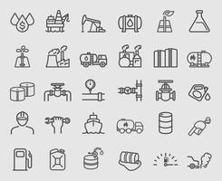 set di icone di linea di industria petrolifera vettore
