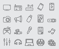 set di icone di linea del dispositivo multimediale vettore