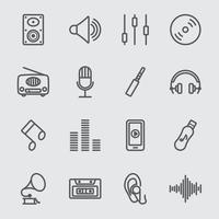 set di icone di linea di musica vettore