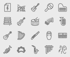 set di icone di linea di strumenti musicali vettore