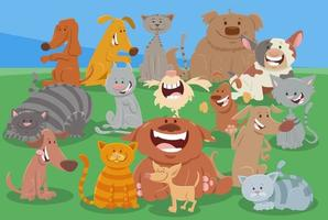 cartone animato cani e gatti divertente gruppo di personaggi animali vettore