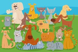 cani e gatti dei cartoni animati personaggi animali comici vettore