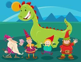 gruppo di personaggi di fantasia divertente del fumetto vettore